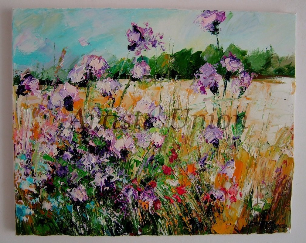 Meadow Original Oil Painting Purple Thistles Impasto Palette knife art Wild Flowers European Artist