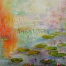 Water Lilies Lake Original Oil Painting Landscape Flowers Impasto Linen Canvas Orange Impression
