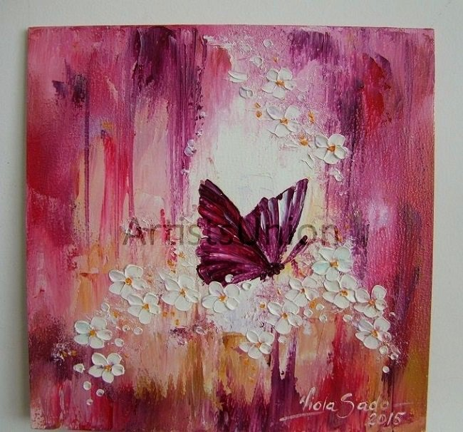 S-Butterfly Flowers Original Impasto Oil Painting Purple White Blue Meadow Board Europe Artist Offer