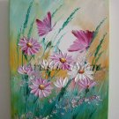 Pink Butterflies Original Oil Painting Daisies Wild Flowers Impasto Palette Knife Textured Fine Art