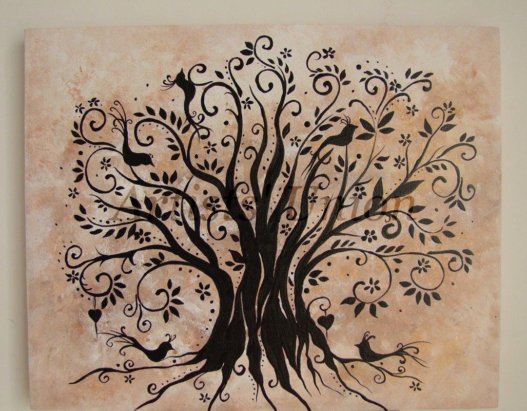 Magical Tree Original Acrylic Painting Birds Flowers Autumn Symbolism Fine Art COA European Artist