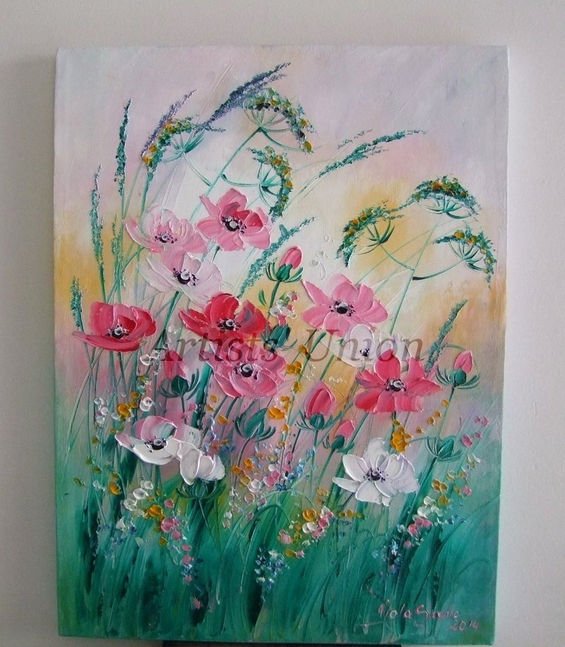Pink Flowers Original Oil Painting Meadow Impasto Field Blossom Palette Knife Textured Art EU Artist
