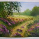 Lavender Original Oil Painting Landscape Impasto Forest Flowers Meadow 28 in. Purple EU Artist Offer