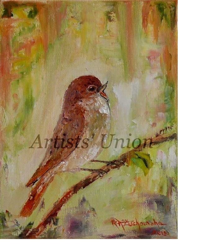 Nightingale Original Oil Painting Bird Art Impasto Pájaro Nursery Wall Decor Impasto Linen EU Art