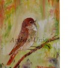 Nightingale Original Oil Painting Bird Art Impasto Pájaro Nursery Wall Decor Impasto Linen EU Art