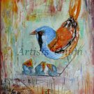 Hungry Birds Original Oil Painting Nest Impasto Textured Kids Colorful Fine Art Linen EU Artist