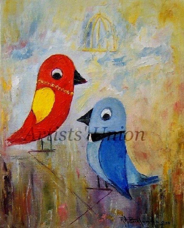 Colorful Birds Impasto Original Oil Painting Animal Textured Art Blue Red Impression Europe Artist