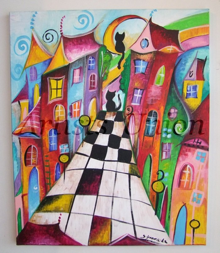 S-Magical Street Original Acrylic Painting Cityscape Moon Kids Fairy Tale Baby Shower Cats EU Artist