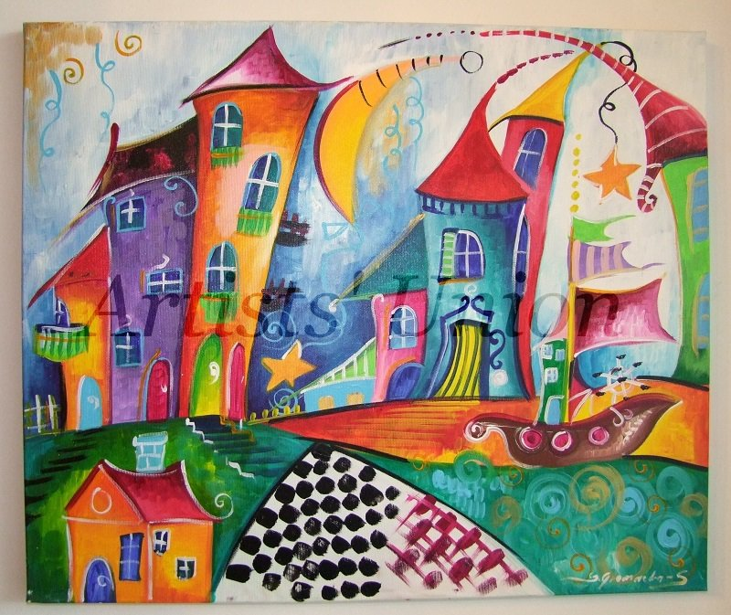 Sailing Original Acrylic Painting Magic Cityscape Boat Moon Kids Fairy Tale Baby Shower EU Artist