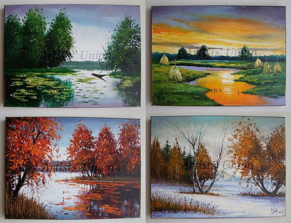 Four Seasons Original Oil Paintings Landscapes Impasto Fine Art 4 PCS  Palette knife Autumn Textured