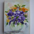 Purple Flowers Original Oil Painting Impasto Still Life Bouquet Orange Impressionism Vase EU Artist