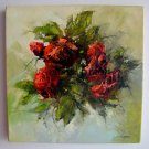 Red Roses Original Oil Painting Modern Impasto Still life Palette Knife Textured Flowers EU Artist