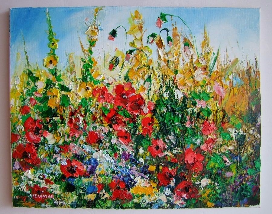 Red Poppies Original Oil Painting Meadow Impasto Palette knife Wild Flowers Textured Daisies EU Art