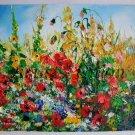Red Poppies Original Oil Painting Meadow Impasto Palette knife Wild Flowers Textured Daisies EU Art