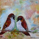 Sparrows Original Oil Painting Two Birds Fine Art Textured Impression Linen artistsunion EU Artist