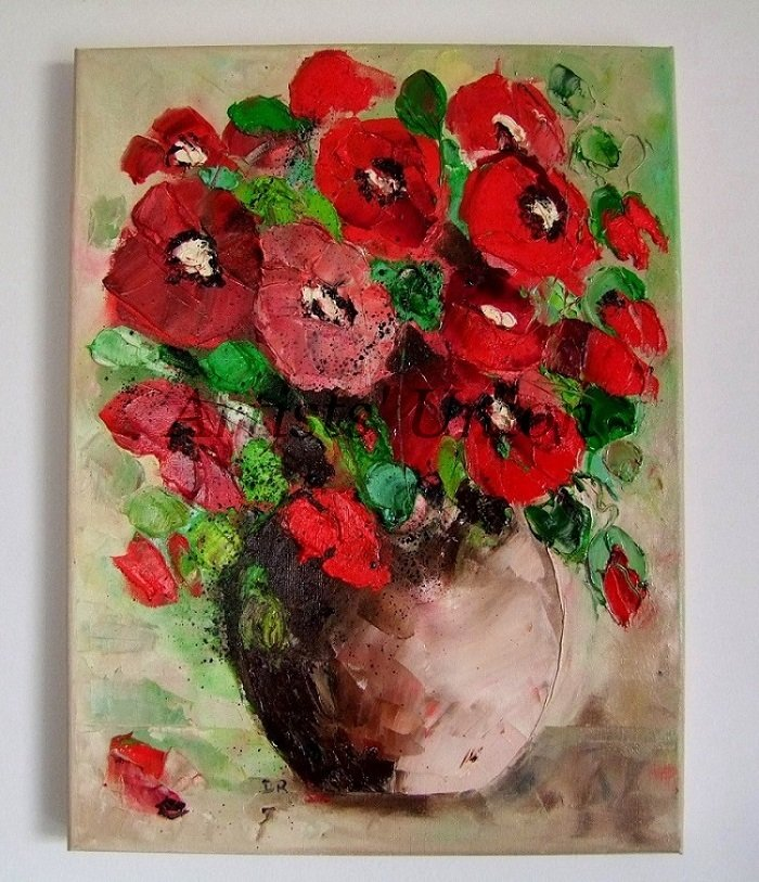 Red Poppies Original Oil Painting Impasto Bouquet Poppy Impressionist Palette Knife European Artist