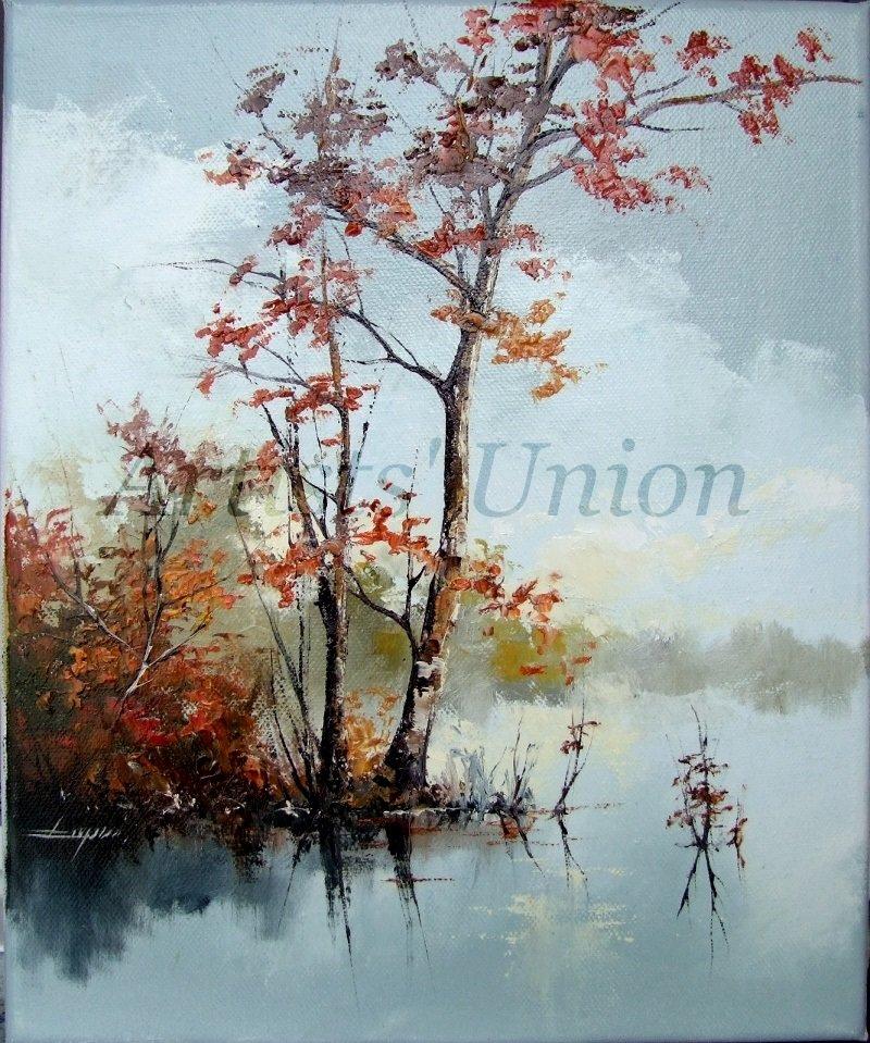 Autumn Lake Original Oil Painting Fall Landscape Impasto Palette Knife Trees European Artist