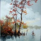 Autumn Lake Original Oil Painting Fall Landscape Impasto Palette Knife Trees European Artist