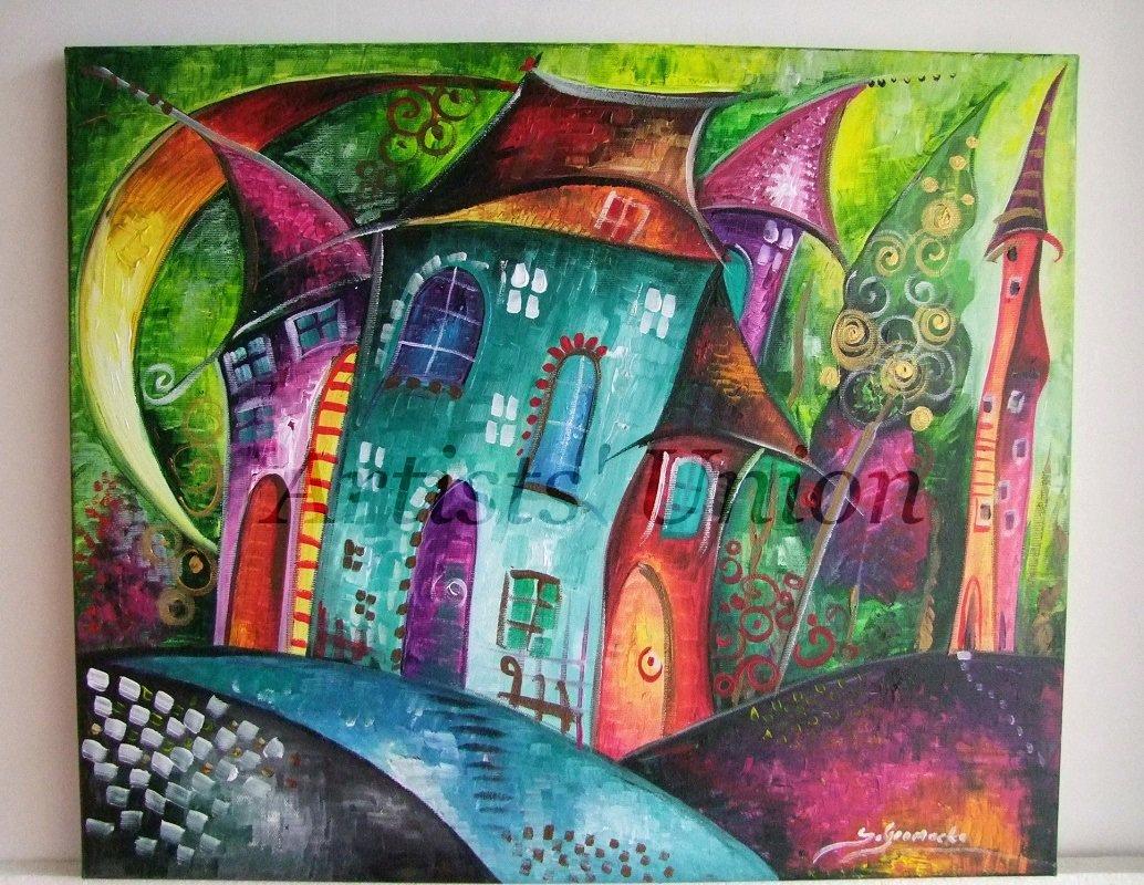 Magic City Night Original Acrylic Painting Moon Kids Fairy Tale Cityscape EU Artist Baby Shower Gift