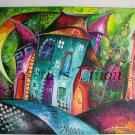 Magic City Night Original Acrylic Painting Moon Kids Fairy Tale Cityscape EU Artist Baby Shower Gift