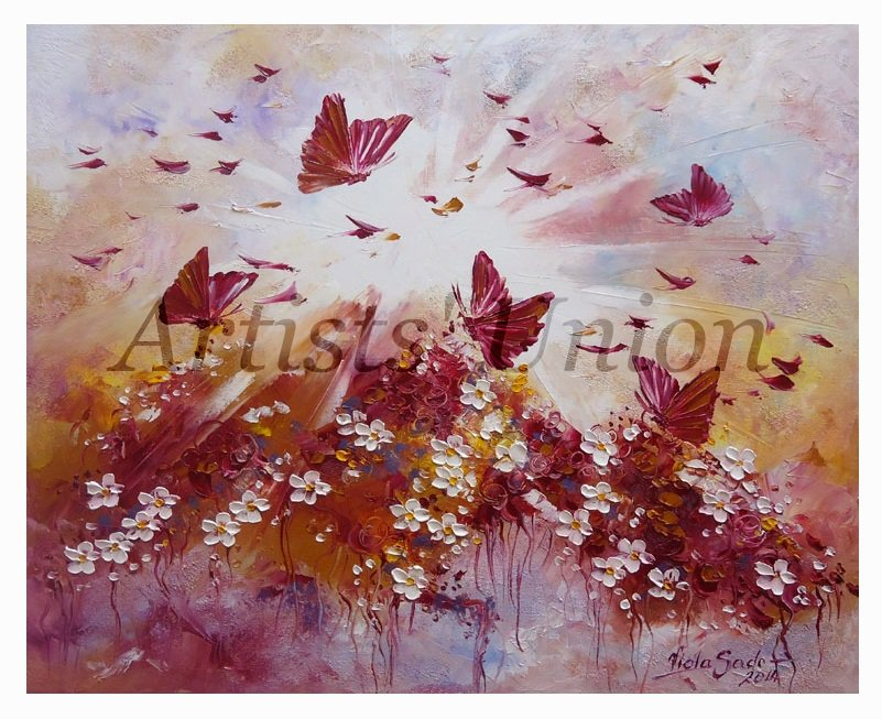 Magical Butterflies Original Oil Painting Impasto Autumn Fantasy Purple White Flowers Meadow EU Art