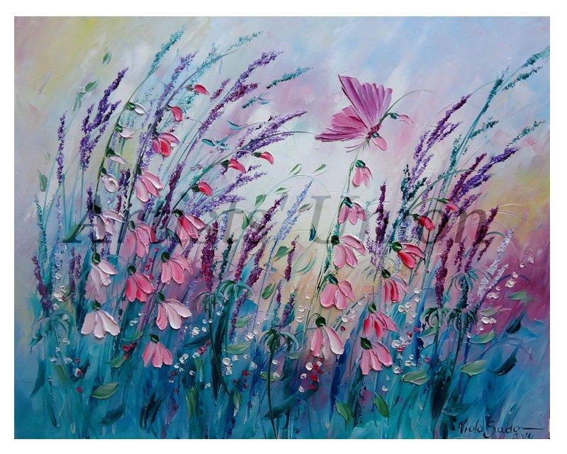 Meadow Original Oil Painting Impasto Pink Wild Flowers Butterfly Lavender Textured EU Artist