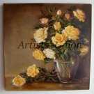 Roses Still Life Original Oil Painting Fine Art Yellow shabby chic Flowers Impression Vase EU Artist