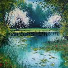 Landscape Original Oil Painting White Trees Lake Water Lilies Impasto Red Poppies Textured EU Artist