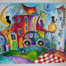 Magic City Cats Original Acrylic Painting Car Moon Kids Art Fairy Tale Cityscape EU Art Baby Shower