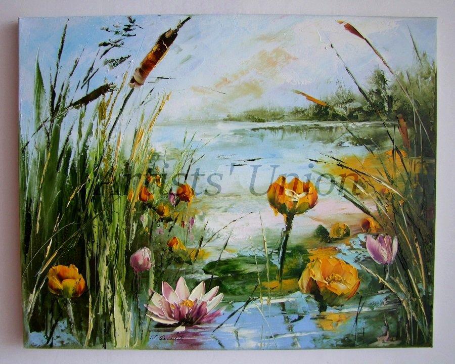Water Lilies Original Oil Painting Pink Yellow Flowers Impasto Palette Knife Lake Textured EU Artist