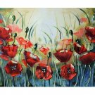 Red Poppies Modern Original Oil Painting Meadow Impasto 28in. Palette knife art Impression Offer