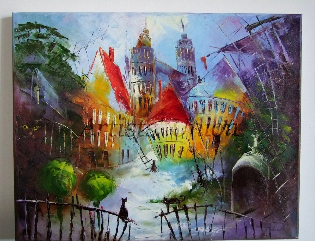 Cats Abstract Cityscape Original Oil Painting Palette Knife Street Fantasy Town Trees Impasto EU Art