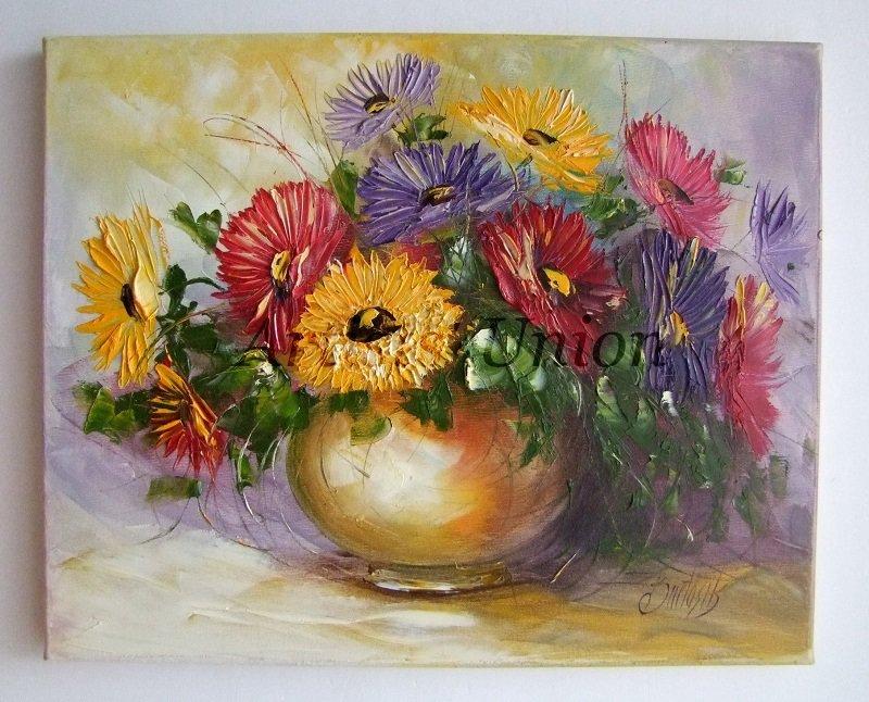 Impasto Asters Original Oil Painting Flowers Still Life Palette knife Textured Colorful EU Artist