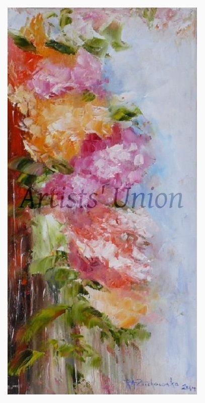 Summer Flowers Original Oil Painting Impasto Still Life Pink Orange Impressionistic EU Artist