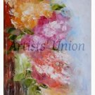 Summer Flowers Original Oil Painting Impasto Still Life Pink Orange Impressionistic EU Artist