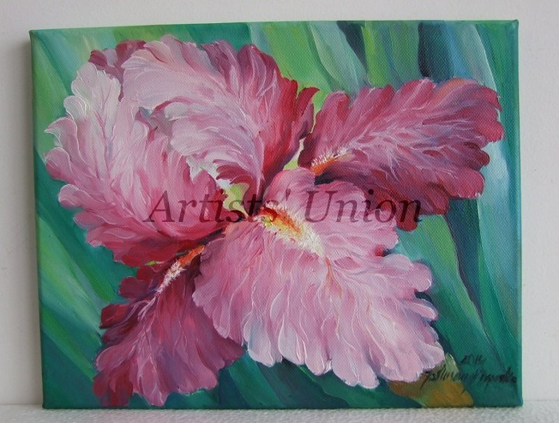 Pink Iris Original Oil Painting Flower Fine Art Garden Impressionistic Still Life Blossoms EU Art