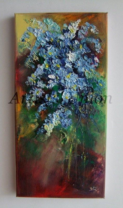 Forget Me Not Still Life Original Oil Painting Blue Flowers Impression Bouquet EU Artist
