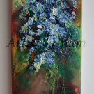 Forget Me Not Still Life Original Oil Painting Blue Flowers Impression Bouquet EU Artist