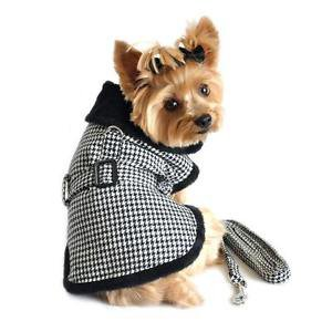 XSM DOG COAT chihuahua teacup maltese yorkie HOUNDSTOOTH DOG JACKET & LEASH SET