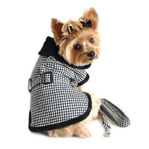 DOG JACKET chihuahua maltese yorkie toy poodle HOUNDSTOOTH DOG COAT & LEASH WARM