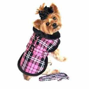 DOG JACKET chihuahua teacup maltese yorkie little DESIGNER DOG COAT & LEASH PINK