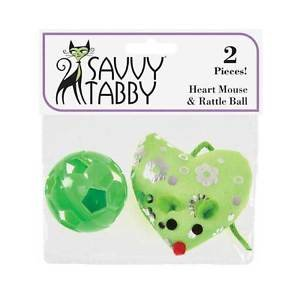 CAT TOYS KITTEN TOYS RATTLING BALL & MOUSE TOY WITH CATNIP 2 PACK SHIPS FROM USA