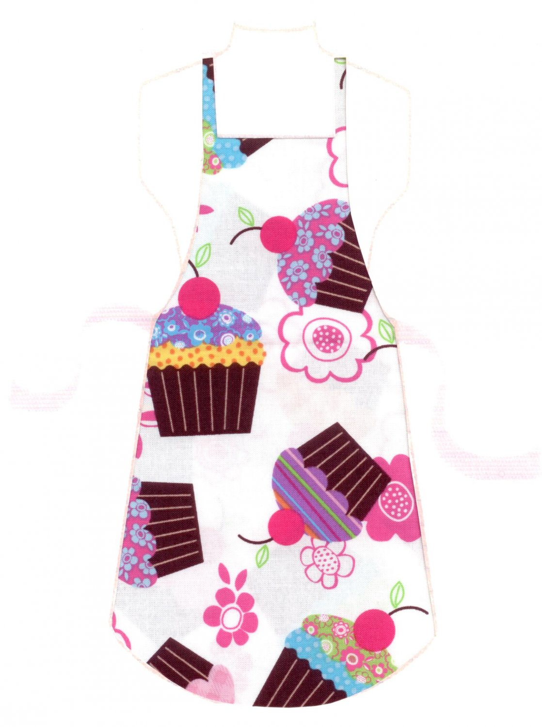 Full Length Adult Apron - Cupcakes & Flowers