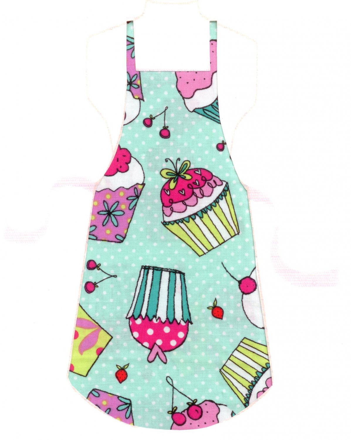 Full Length Adult Apron - Cupcakes on Green