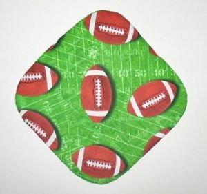 """8"""" Hot Pot Pad/Pot Holder - FOOTBALLS ON GREEN"""