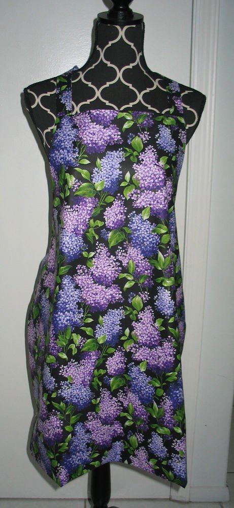 Full Length Adult Apron - PURPLE BOUQUET - All Handmade