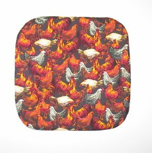 "** NEW ITEM ** 8"" Hot Pot Pad/Pot Holder - BROWN ROOSTERS"