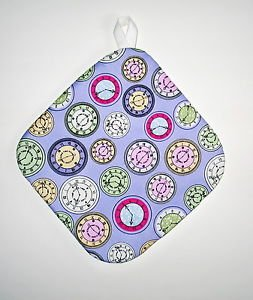 "8"" Hot Pot Pad/Pot Holder with Hanger - CLOCKS ON PURPLE - All Handmade"