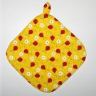 "** NEW ITEM ** 8"" Hot Pot Pad/Pot Holder with Hanger - LADYBUGS ON YELLOW"