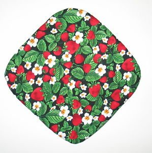 "8"" Hot Pot Pad/Pot Holder - STRAWBERRIES ON BLACK - All Handmade"